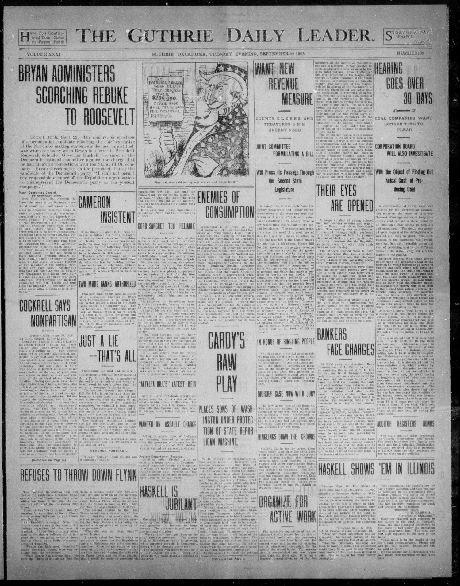 The Guthrie Daily Leader. (Guthrie, Okla.), Vol. 31, No. 109, Ed. 1, Tuesday, September 22, 1908                                                                                                      [Sequence #]: 1 of 8