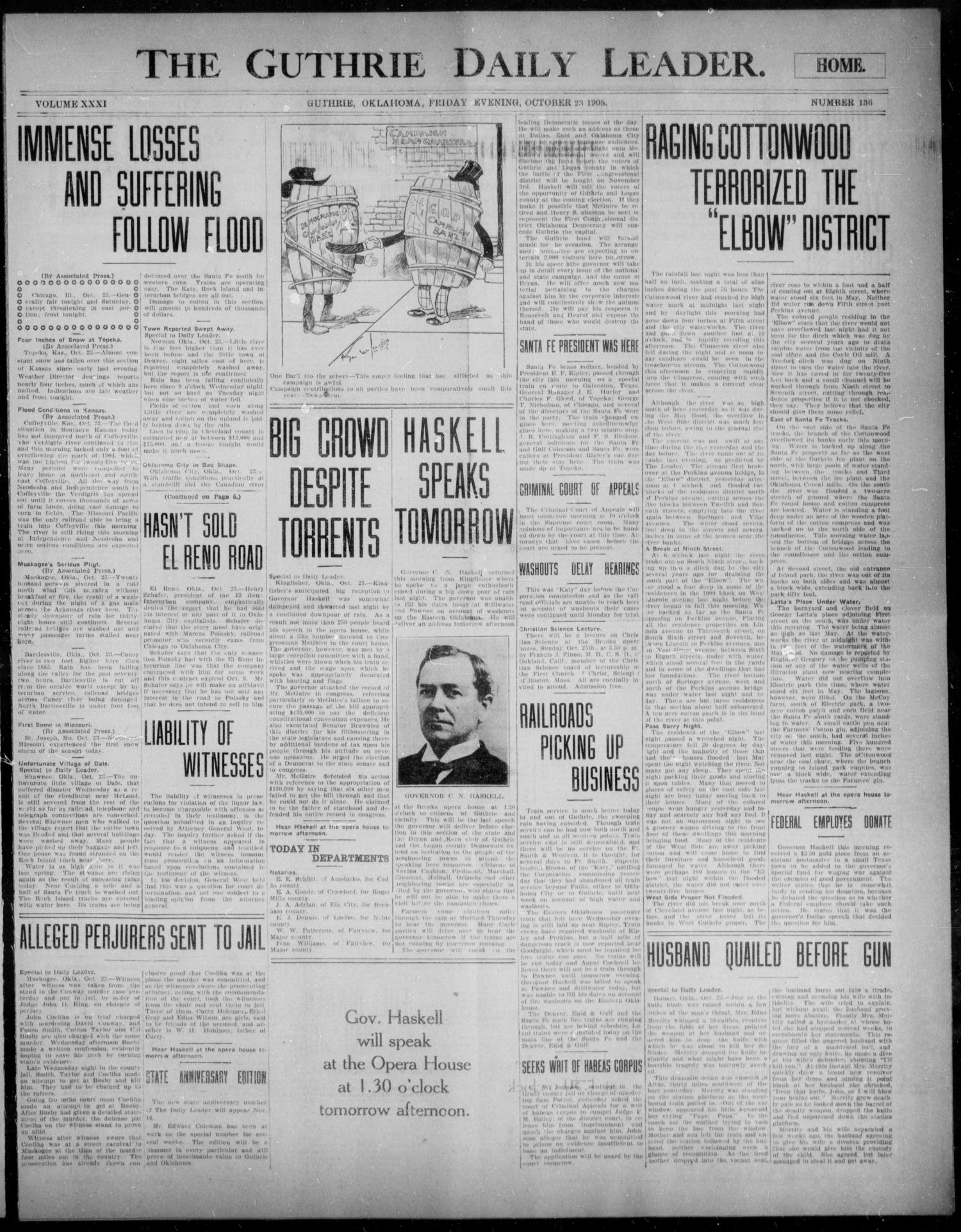 The Guthrie Daily Leader. (Guthrie, Okla.), Vol. 31, No. 136, Ed. 1, Friday, October 23, 1908                                                                                                      [Sequence #]: 1 of 8