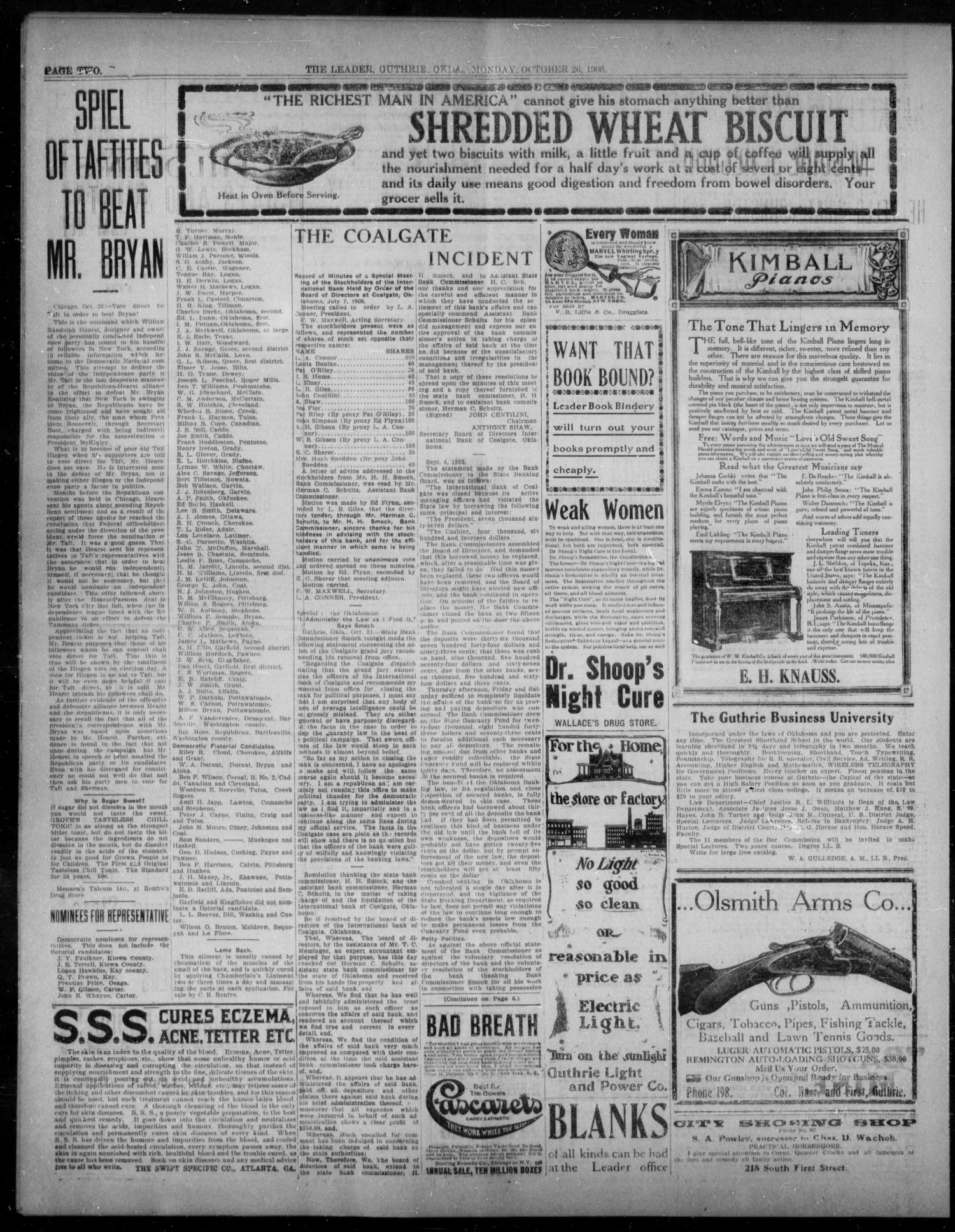 The Guthrie Daily Leader. (Guthrie, Okla.), Vol. 31, No. 138, Ed. 1, Monday, October 26, 1908                                                                                                      [Sequence #]: 2 of 8