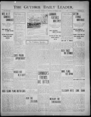 Primary view of object titled 'The Guthrie Daily Leader. (Guthrie, Okla.), Vol. 31, No. 152, Ed. 1, Wednesday, November 11, 1908'.