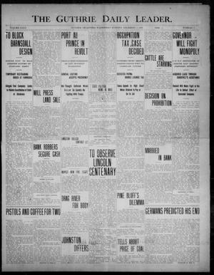 Primary view of object titled 'The Guthrie Daily Leader. (Guthrie, Okla.), Vol. 32, No. 11, Ed. 1, Wednesday, December 2, 1908'.