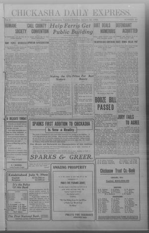 Primary view of object titled 'Chickasha Daily Express. (Chickasha, Okla.), Vol. 9, No. 23, Ed. 1 Tuesday, January 28, 1908'.