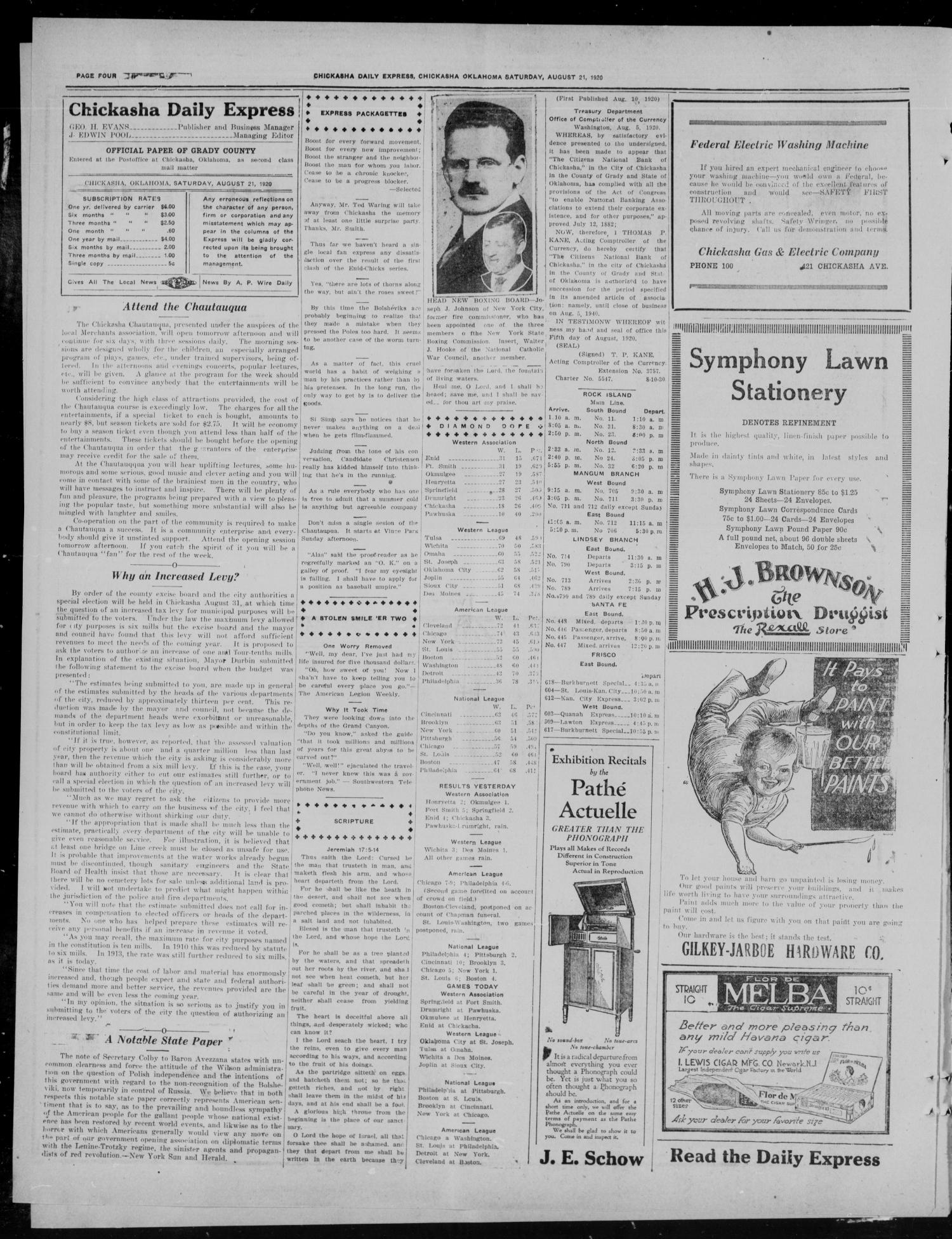 Chickasha Daily Express (Chickasha, Okla.), Vol. 21, No. 200, Ed. 1 Saturday, August 21, 1920                                                                                                      [Sequence #]: 4 of 8