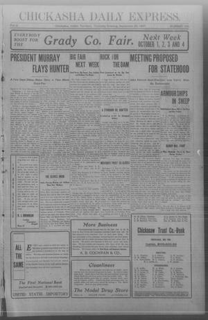 Primary view of object titled 'Chickasha Daily Express. (Chickasha, Indian Terr.), Vol. 8, No. 225, Ed. 1 Thursday, September 26, 1907'.