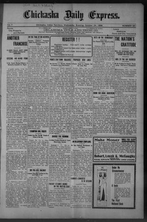 Primary view of object titled 'Chickasha Daily Express. (Chickasha, Indian Terr.), Vol. 7, No. 261, Ed. 1 Wednesday, October 24, 1906'.