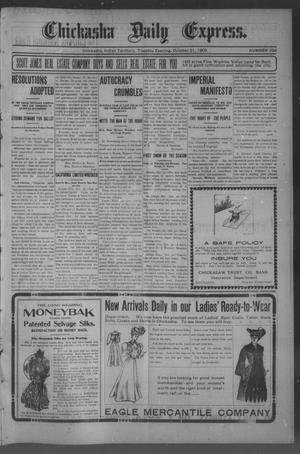 Primary view of object titled 'Chickasha Daily Express. (Chickasha, Indian Terr.), No. 259, Ed. 1 Tuesday, October 31, 1905'.