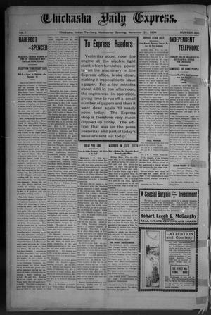 Primary view of object titled 'Chickasha Daily Express. (Chickasha, Indian Terr.), Vol. 7, No. 285, Ed. 1 Wednesday, November 21, 1906'.