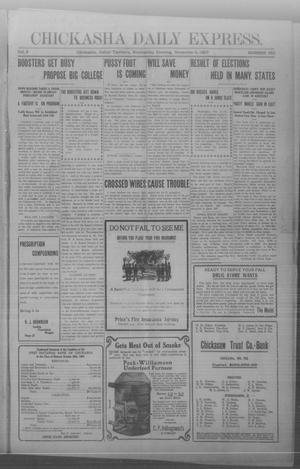 Primary view of object titled 'Chickasha Daily Express. (Chickasha, Indian Terr.), Vol. 8, No. 260, Ed. 1 Wednesday, November 6, 1907'.