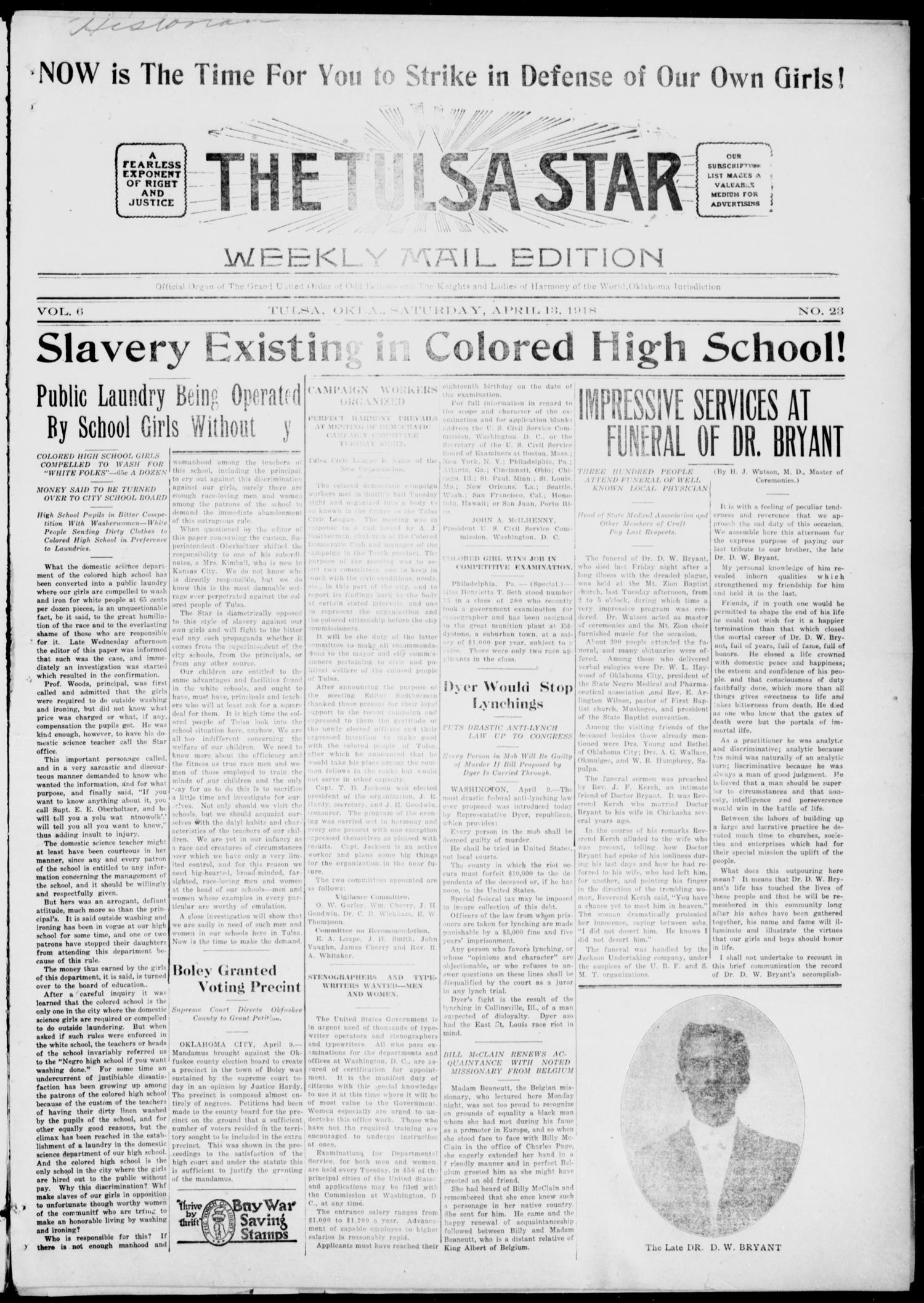 The Tulsa Star (Tulsa, Okla.), Vol. 6, No. 23, Ed. 1, Saturday, April 13, 1918                                                                                                      [Sequence #]: 1 of 4