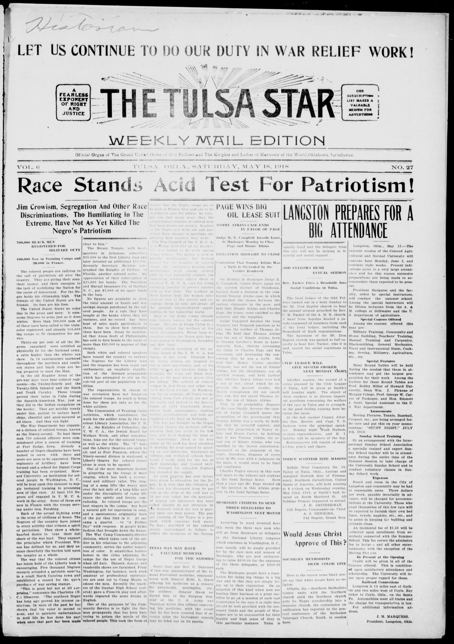 The Tulsa Star (Tulsa, Okla.), Vol. 6, No. 27, Ed. 1, Saturday, May 18, 1918                                                                                                      [Sequence #]: 1 of 4