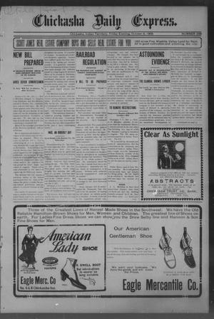 Primary view of object titled 'Chickasha Daily Express. (Chickasha, Indian Terr.), No. 238, Ed. 1 Friday, October 6, 1905'.