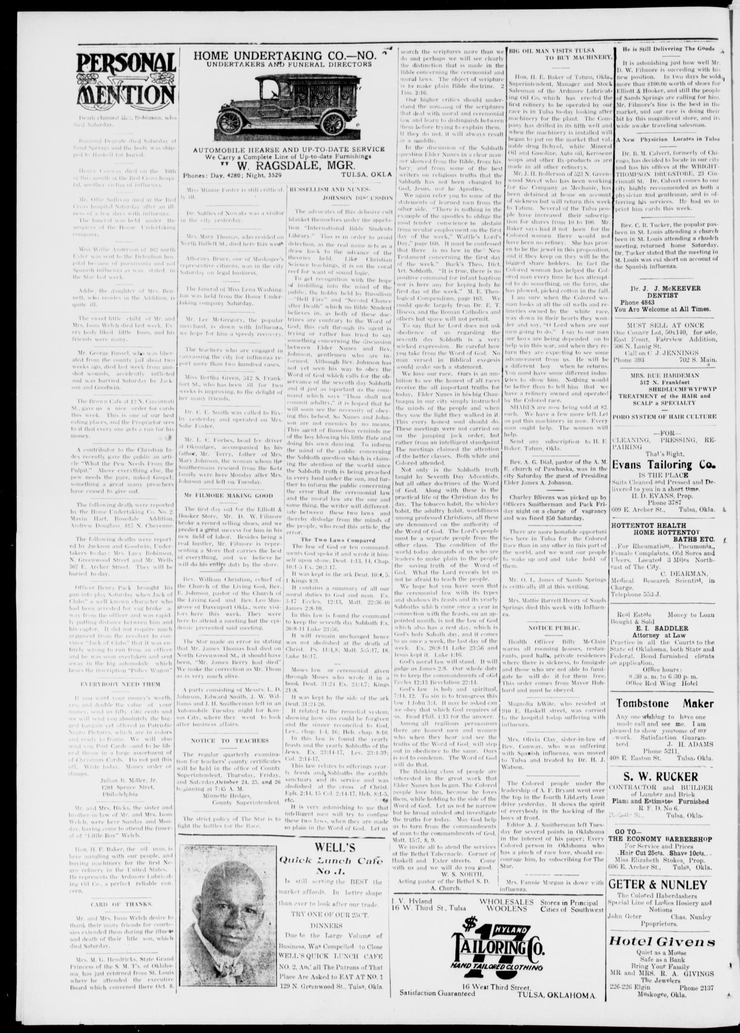 The Tulsa Star (Tulsa, Okla.), Vol. 6, No. 47, Ed. 1, Saturday, October 19, 1918                                                                                                      [Sequence #]: 4 of 4
