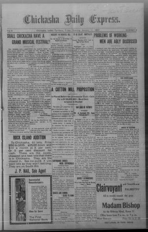Primary view of object titled 'Chickasha Daily Express. (Chickasha, Indian Terr.), Vol. 8, No. 9, Ed. 1 Friday, January 11, 1907'.
