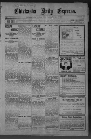 Primary view of object titled 'Chickasha Daily Express. (Chickasha, Indian Terr.), Vol. 7, No. 337, Ed. 1 Friday, February 2, 1906'.