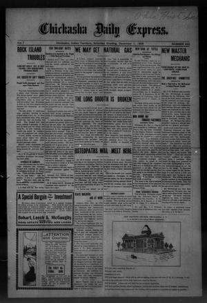Primary view of object titled 'Chickasha Daily Express. (Chickasha, Indian Terr.), Vol. 7, No. 293, Ed. 1 Saturday, December 1, 1906'.