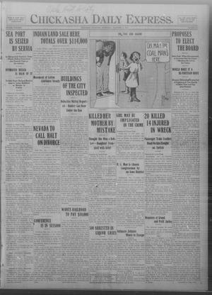 Primary view of object titled 'Chickasha Daily Express. (Chickasha, Okla.), Vol. THIRTEEN, No. 264, Ed. 1 Wednesday, November 13, 1912'.