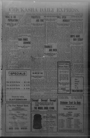 Primary view of object titled 'Chickasha Daily Express. (Chickasha, Indian Terr.), Vol. 8, No. 152, Ed. 1 Saturday, June 29, 1907'.