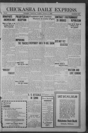 Primary view of object titled 'Chickasha Daily Express. (Chickasha, Okla.), Vol. 9, No. 234, Ed. 1 Tuesday, October 6, 1908'.