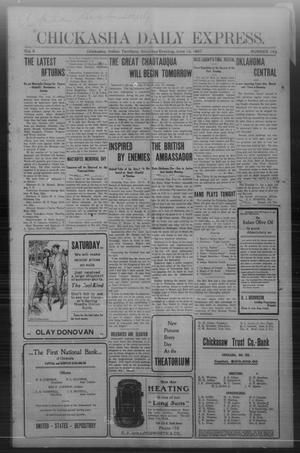 Primary view of object titled 'Chickasha Daily Express. (Chickasha, Indian Terr.), Vol. 8, No. 142, Ed. 1 Saturday, June 15, 1907'.