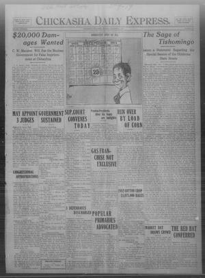 Primary view of object titled 'Chickasha Daily Express. (Chickasha, Okla.), Vol. THIRTEEN, No. 279, Ed. 1 Monday, December 2, 1912'.