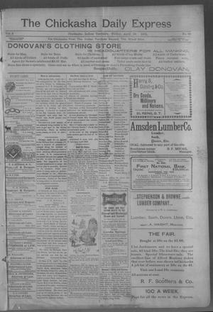 Primary view of object titled 'The Chickasha Daily Express (Chickasha, Indian Terr.), Vol. 2, No. 96, Ed. 1 Friday, April 19, 1901'.