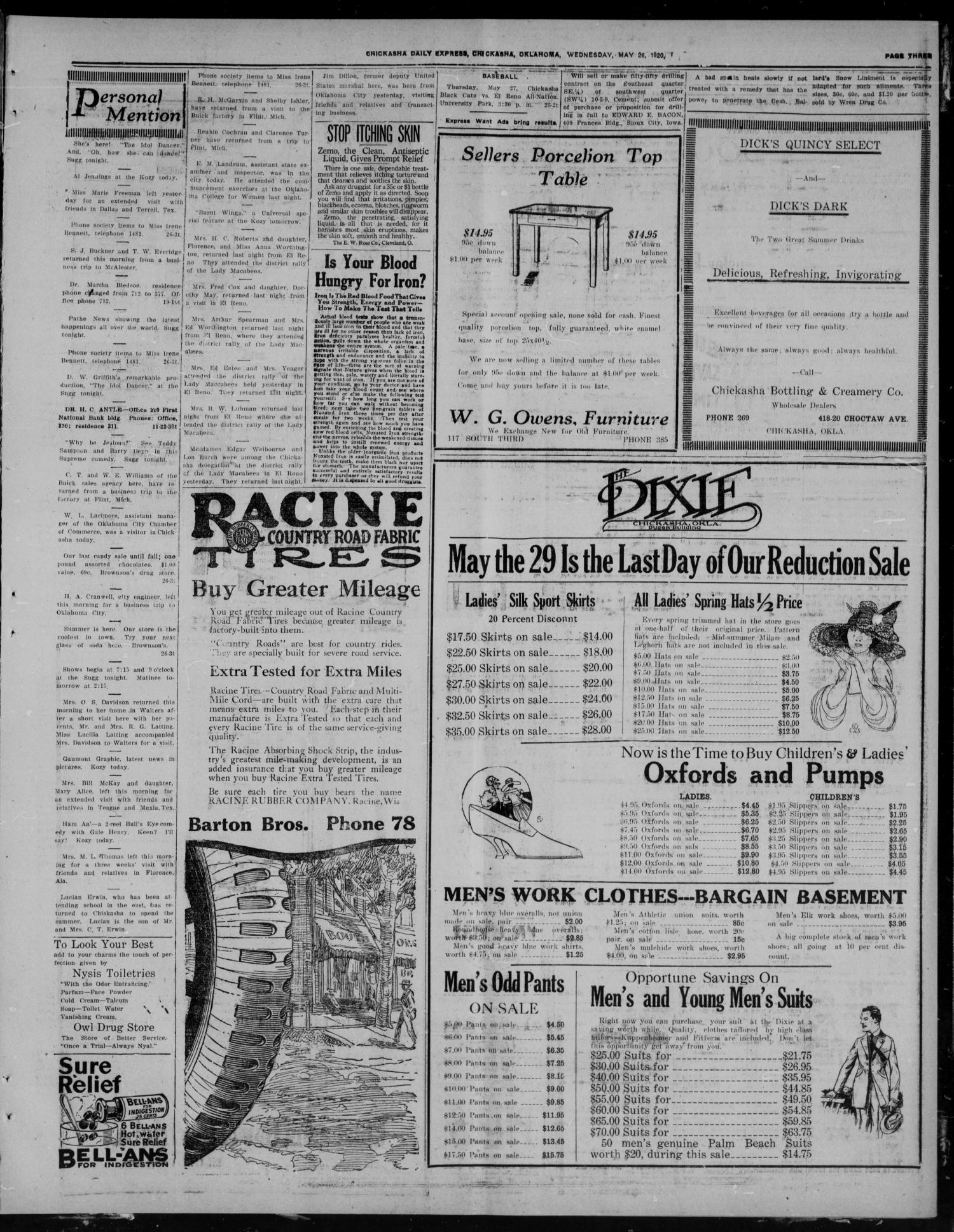 Chickasha Daily Express (Chickasha, Okla.), Vol. 21, No. 126, Ed. 1 Wednesday, May 26, 1920                                                                                                      [Sequence #]: 3 of 8