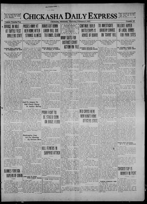 Primary view of object titled 'Chickasha Daily Express (Chickasha, Okla.), Vol. 22, No. 29, Ed. 1 Thursday, February 3, 1921'.