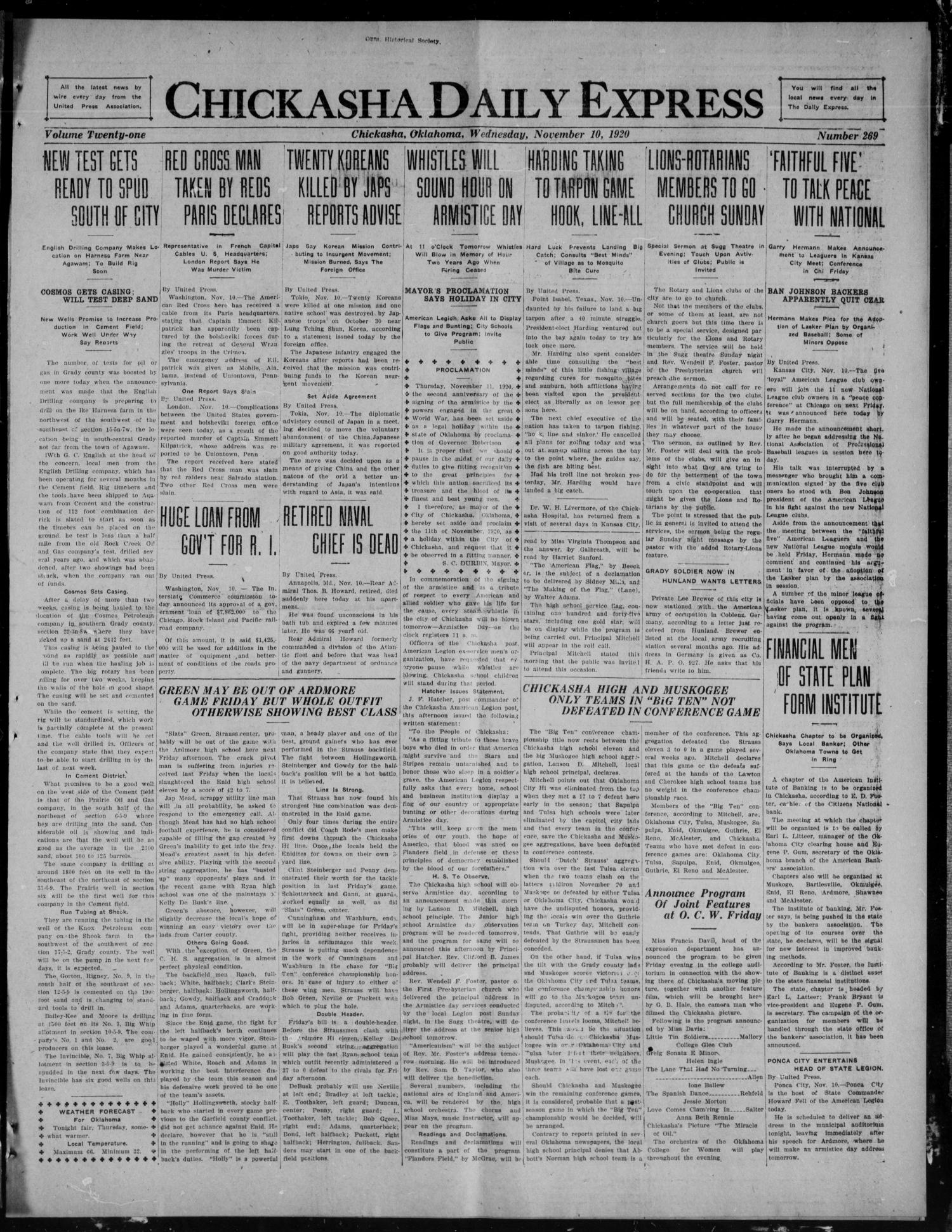 Chickasha Daily Express (Chickasha, Okla.), Vol. 21, No. 269, Ed. 1 Wednesday, November 10, 1920                                                                                                      [Sequence #]: 1 of 10