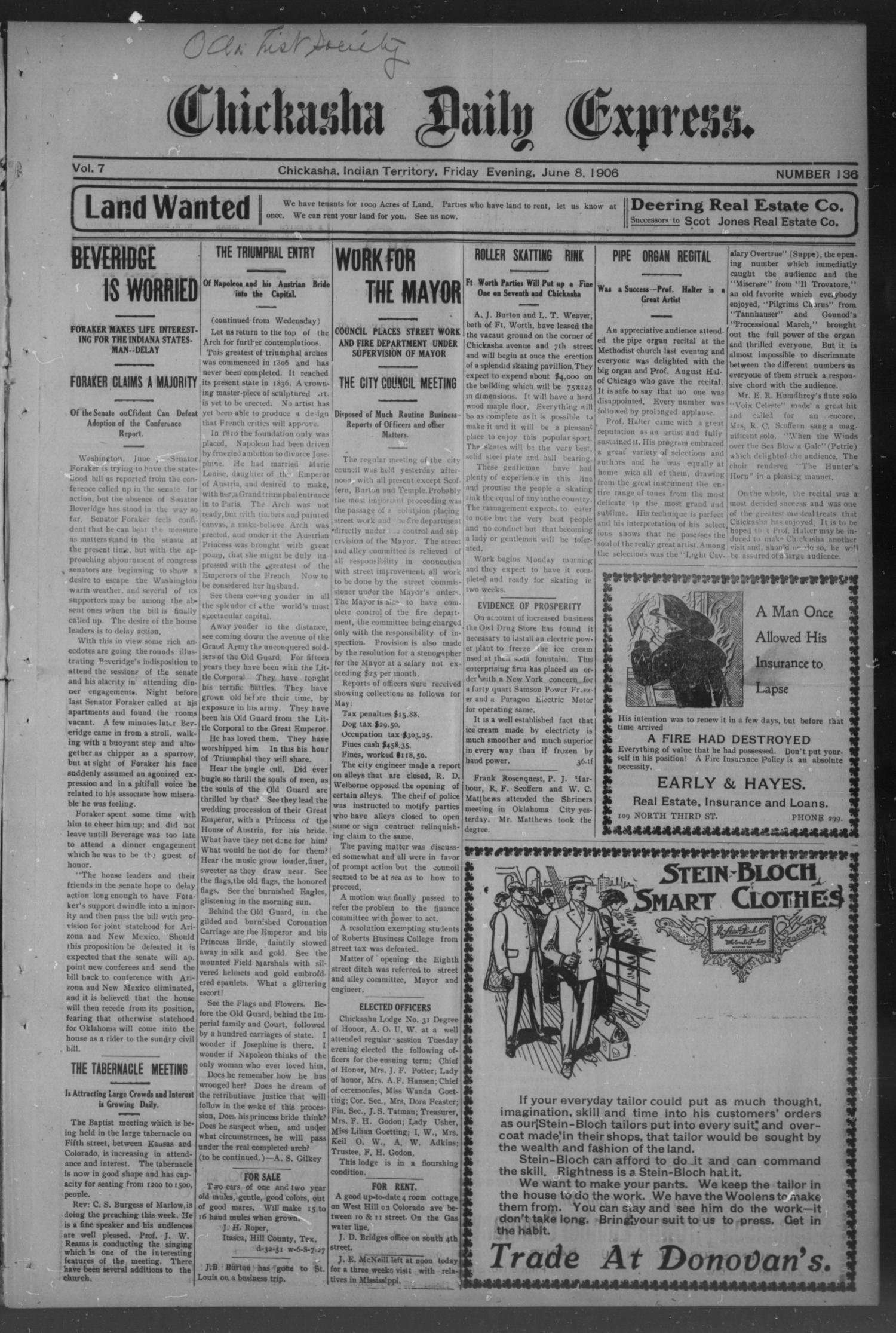 Chickasha Daily Express. (Chickasha, Indian Terr.), Vol. 7, No. 136, Ed. 1 Friday, June 8, 1906                                                                                                      [Sequence #]: 1 of 4