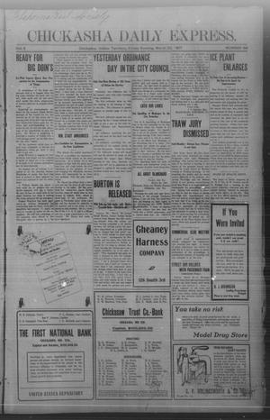 Primary view of object titled 'Chickasha Daily Express. (Chickasha, Indian Terr.), Vol. 8, No. 68, Ed. 1 Friday, March 22, 1907'.