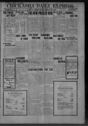 Primary view of object titled 'Chickasha Daily Express. (Chickasha, Okla.), Vol. 10, No. 216, Ed. 1 Monday, September 20, 1909'.