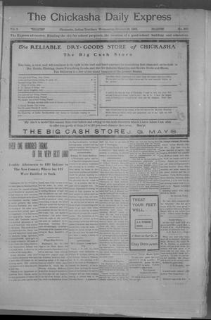 Primary view of object titled 'The Chickasha Daily Express. (Chickasha, Indian Terr.), Vol. 2, No. 267, Ed. 1 Wednesday, October 16, 1901'.