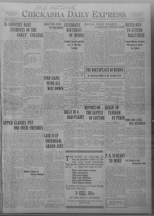 Primary view of object titled 'Chickasha Daily Express. (Chickasha, Okla.), Vol. THIRTEEN, No. 22, Ed. 1 Thursday, January 25, 1912'.