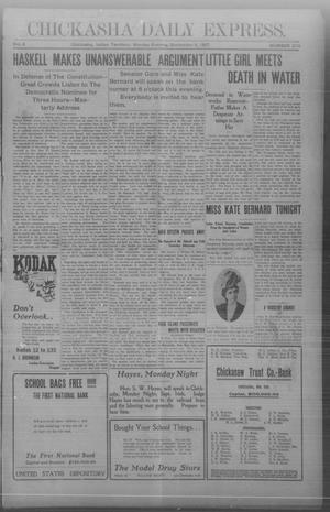 Primary view of object titled 'Chickasha Daily Express. (Chickasha, Indian Terr.), Vol. 8, No. 210, Ed. 1 Monday, September 9, 1907'.