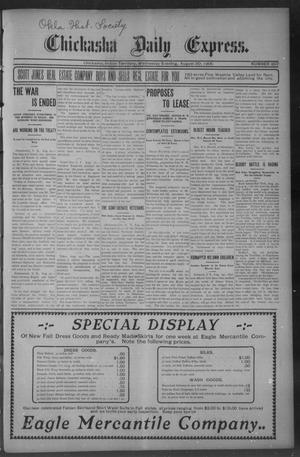 Primary view of object titled 'Chickasha Daily Express. (Chickasha, Indian Terr.), No. 207, Ed. 1 Wednesday, August 30, 1905'.