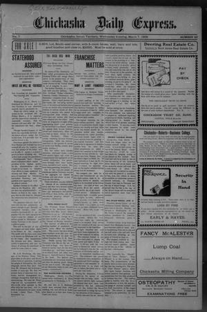 Primary view of object titled 'Chickasha Daily Express. (Chickasha, Indian Terr.), Vol. 7, No. 56, Ed. 1 Wednesday, March 7, 1906'.