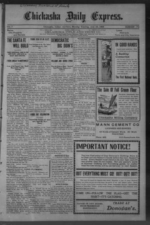 Primary view of object titled 'Chickasha Daily Express. (Chickasha, Indian Terr.), Vol. 7, No. 172, Ed. 1 Monday, July 23, 1906'.