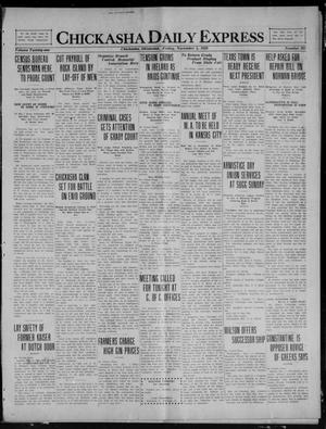 Primary view of object titled 'Chickasha Daily Express (Chickasha, Okla.), Vol. 21, No. 265, Ed. 1 Friday, November 5, 1920'.