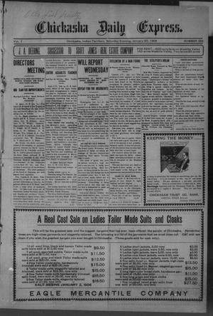 Primary view of object titled 'Chickasha Daily Express. (Chickasha, Indian Terr.), Vol. 7, No. 326, Ed. 1 Saturday, January 20, 1906'.