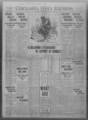 Primary view of object titled 'Chickasha Daily Express. (Chickasha, Okla.), Vol. THIRTEEN, No. 28, Ed. 1 Thursday, February 1, 1912'.