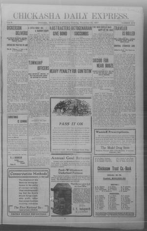Primary view of object titled 'Chickasha Daily Express. (Chickasha, Okla.), Vol. 8, No. 272, Ed. 1 Wednesday, November 20, 1907'.