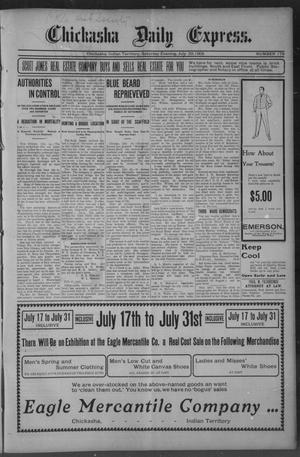 Primary view of object titled 'Chickasha Daily Express. (Chickasha, Indian Terr.), No. 179, Ed. 1 Saturday, July 29, 1905'.
