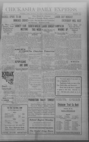 Primary view of object titled 'Chickasha Daily Express. (Chickasha, Indian Terr.), Vol. 8, No. 204, Ed. 1 Saturday, August 31, 1907'.