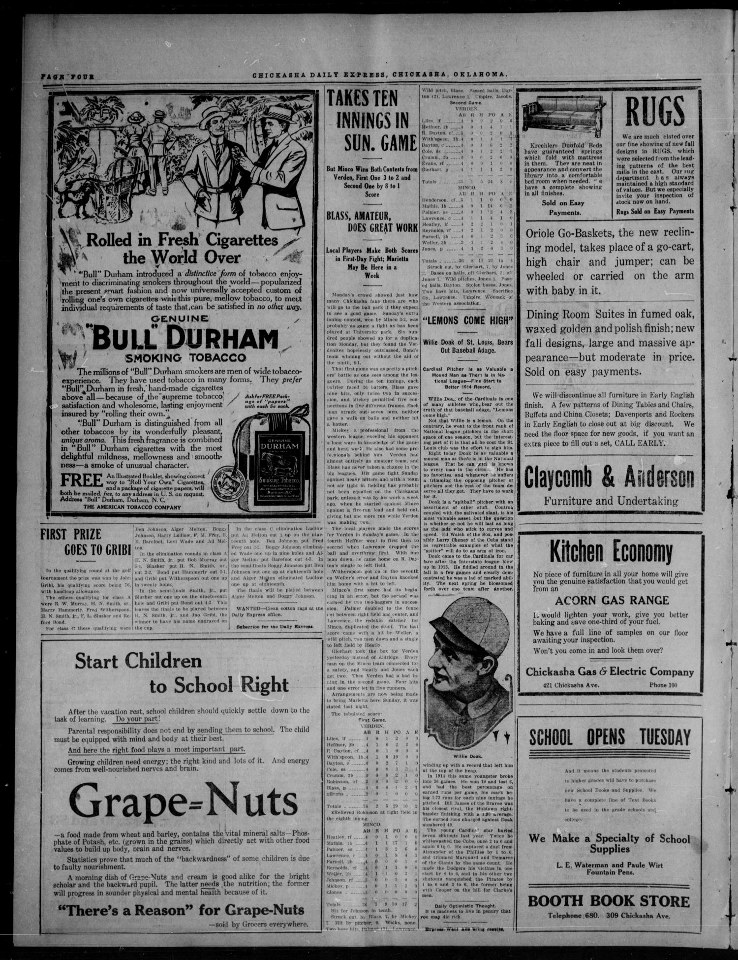 Chickasha Daily Express (Chickasha, Okla.), Vol. SIXTEEN, No. 242, Ed. 1 Tuesday, September 7, 1915                                                                                                      [Sequence #]: 4 of 8