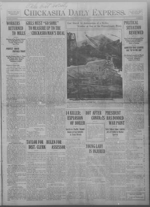 Primary view of object titled 'Chickasha Daily Express. (Chickasha, Okla.), Vol. THIRTEEN, No. 67, Ed. 1 Monday, March 18, 1912'.