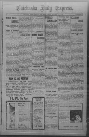Primary view of object titled 'Chickasha Daily Express. (Chickasha, Indian Terr.), Vol. 8, No. 37, Ed. 1 Thursday, February 14, 1907'.