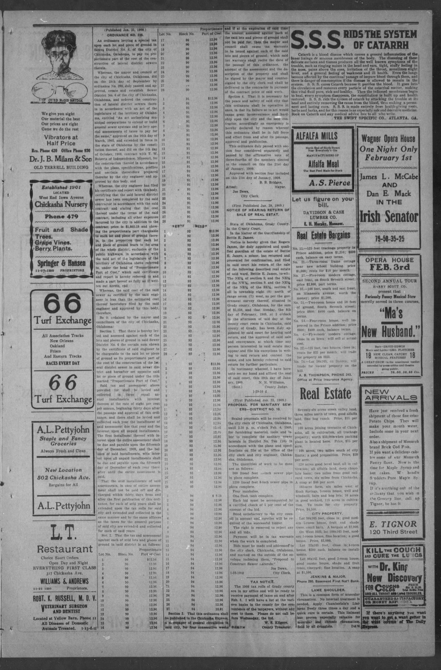 Chickasha Daily Express. (Chickasha, Okla.), Vol. 10, No. 27, Ed. 1 Monday, February 1, 1909                                                                                                      [Sequence #]: 3 of 8