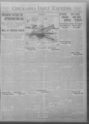 Primary view of object titled 'Chickasha Daily Express. (Chickasha, Okla.), Vol. THIRTEEN, No. 199, Ed. 1 Wednesday, August 21, 1912'.