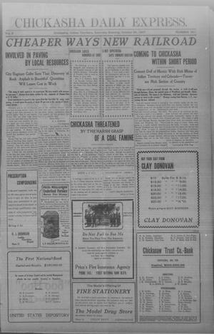 Primary view of object titled 'Chickasha Daily Express. (Chickasha, Indian Terr.), Vol. 8, No. 251, Ed. 1 Saturday, October 26, 1907'.