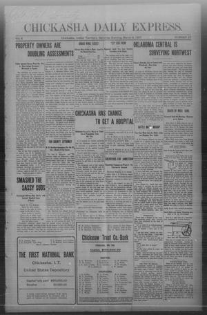 Primary view of object titled 'Chickasha Daily Express. (Chickasha, Indian Terr.), Vol. 8, No. 57, Ed. 1 Saturday, March 9, 1907'.
